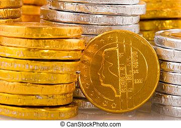 lotissements, argent, hollandais, chocolat