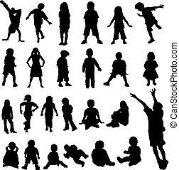 lotissements, bébés, silhoue, enfants
