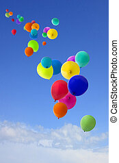 lotissements, ballons, voler, ciel, coloré