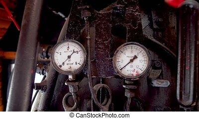 lotissements, cabin., locomotive, canaux transmission, vieux, train, 4k, jauges, chariot, valves, vidéo, vapeur