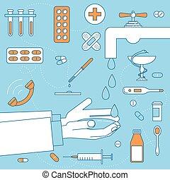 lotissements, empêche, lavage, maladies, mains