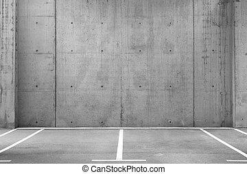 lotissements, garage, vide, stationnement