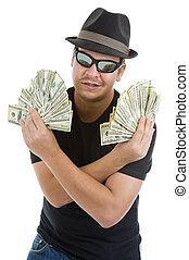 lotissements, notes, dollar, 100, homme