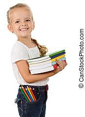 lotissements, peu, livres, girl