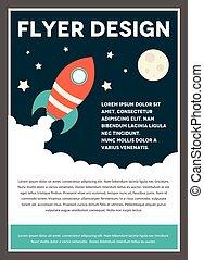 lotnik, projektować, rakieta, szablon, przestrzeń