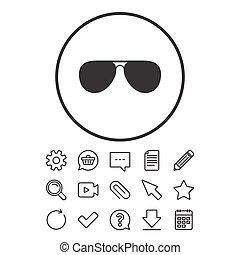 lotnik, sunglasses, znak, icon., glasses., pilot