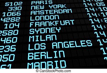 lotnisko, deska, międzynarodowy, rozjazd