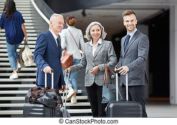lotnisko, grupa, handlowy zaludniają