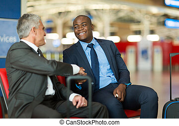 lotnisko, handlowy, podróżni, uzgadnianie