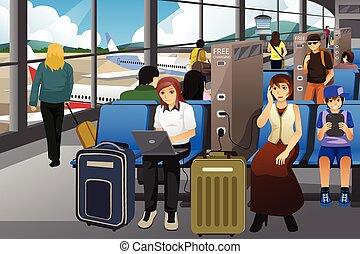 lotnisko, ich, podróżnicy, elektronowy, urządzenia, ładujący