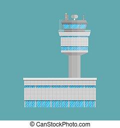 lotnisko, kierująca wieża, i, końcowa budowa