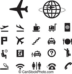 lotnisko, komplet, ikony