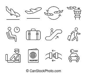 lotnisko, komplet, nawigacja, ikony