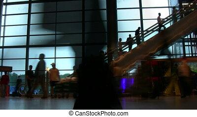 lotnisko, ludzie, sylwetka, eskalator