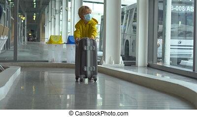 lotnisko, maska, chłopiec, interpretacja, medyczny, mały, walizka, twarz