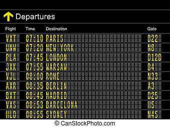 lotnisko, odjazdy, deska