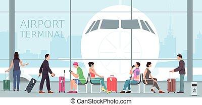 lotnisko, podróż, terminal.