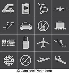 lotnisko, wektor, czarnoskóry, komplet, ikony