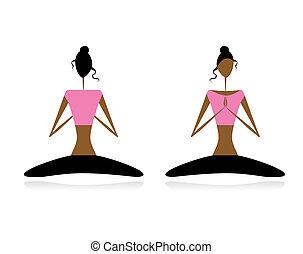 loto, attivo, yoga, pose., donne