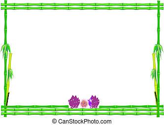 loto, bambú, flores, marco