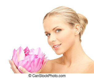 loto, bello, donna, fiore