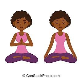 loto, donna meditando, atteggiarsi