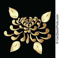 loto, dourado, flor, logotipo