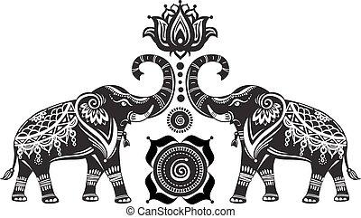loto, estilizado, adornado, flor, elefantes