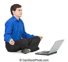 loto, laptop, atteggiarsi, persone