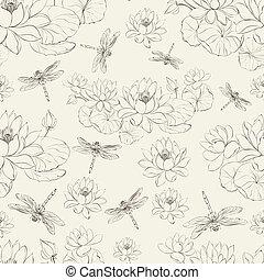 loto, libélula, flor, seamless, padrão