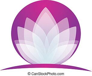 loto, logotipo, fiore, domanda