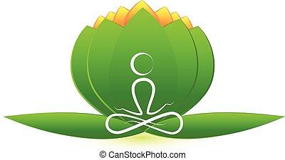 loto, logotipo, fiore, uomo yoga