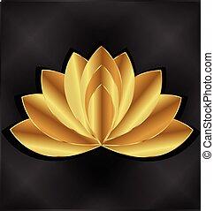 loto, logotipo, flor, ouro