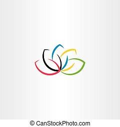 loto, logotipo, símbolo, flor, vetorial