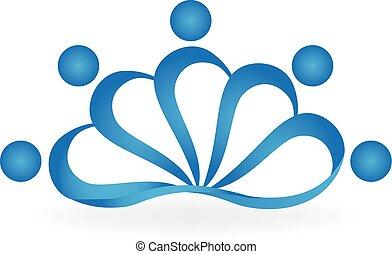 loto, logotipo, trabalho equipe, pessoas