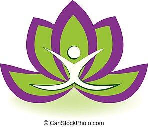 loto, logotipo, uomo yoga
