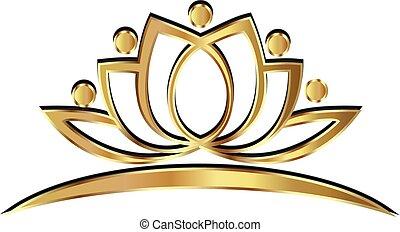 loto, logotipo, yoga, oro, persone