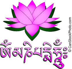 loto, mantra, om, flor, símbolo