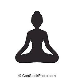 loto, meditare, donna, atteggiarsi