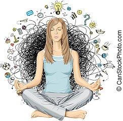 loto, meditazione, donna, vettore, atteggiarsi