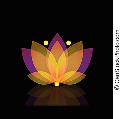 loto, ouro, flor, logotipo