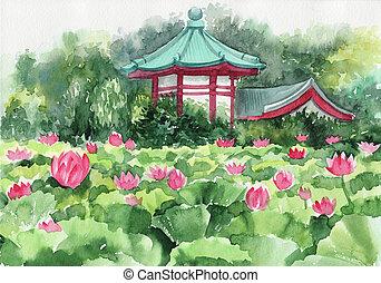 loto, pagoda, lago