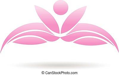 loto, pianta, yoga, persone