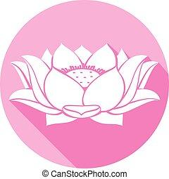 loto, plano, flor, icono