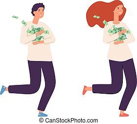 loto, réussi, plat, garçon, heureux, espèces., illustration, characters., vecteur, personne, vainqueurs, femme, riche, ou, amusement, girl, business, mâle, riche, isolé, jeunes