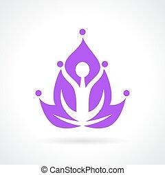 loto, resumen, yoga, icono