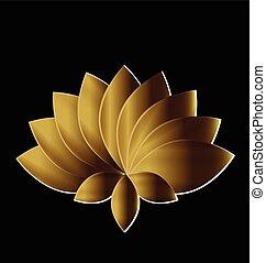 loto, símbolo, ouro, flor, logotipo, arte