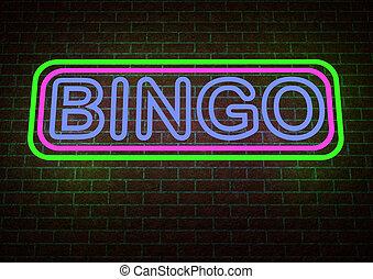 loto, signe, néon, render, 3d