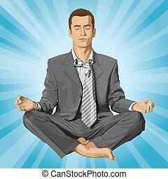loto, uomo affari, atteggiarsi, meditare, vettore