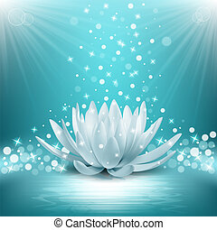 loto, vector, magia, flower., ilustración